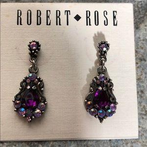 Purple pink crystal earrings